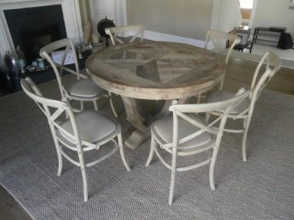 Newest Parquet 6 Piece Dining Sets Throughout Elm Parquet Style Round Dining Table & 6 Chairs X (View 9 of 20)