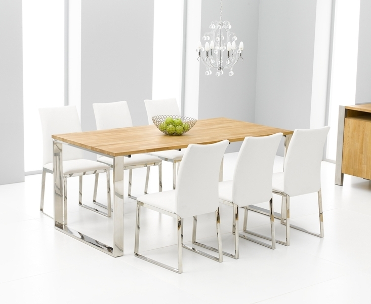 Newest Roseta Oak Chrome Dining Table Oak Furniture Solutions Dining Room Pertaining To Chrome Dining Tables And Chairs (Gallery 6 of 20)