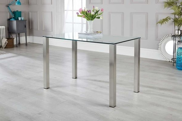 Newest Salerno 4 Clear Glass And Brushed Stainless Steel Metal Dining Table Inside Brushed Metal Dining Tables (View 11 of 20)