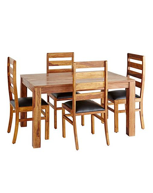 Newest Sheesham Dining Tables And 4 Chairs With Regard To Origen Sheesham Dining Table & 4 Chairs (View 18 of 20)