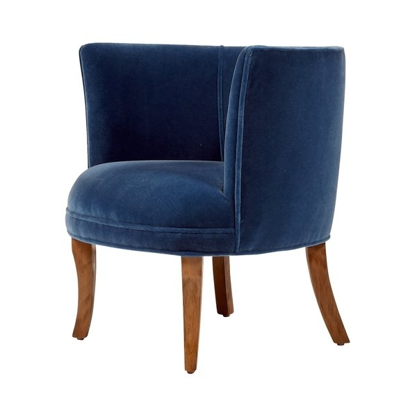 Newest Shop Jaxon Bella Navy Blue Velvet Upholstered Armchair – Free Intended For Jaxon Grey Wood Side Chairs (View 13 of 20)