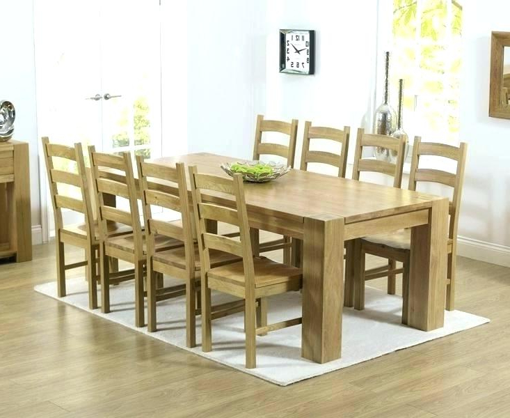 Newest Solid Oak Dining Tables And 8 Chairs Throughout Dining Table And 8 Chairs 8 Seat Dining Room Set Dining Table With 8 (Gallery 4 of 20)