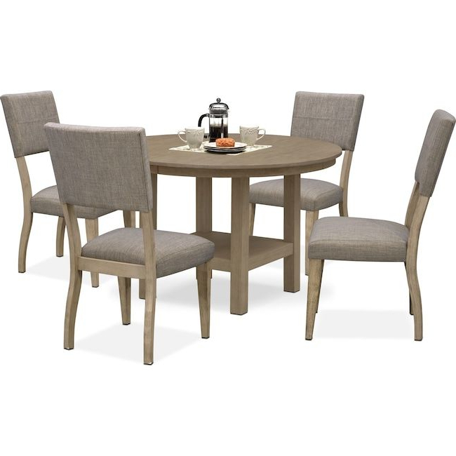 Newest Tribeca Round Dining Table And 4 Upholstered Side Chairs – Gray With Jaxon Grey 6 Piece Rectangle Extension Dining Sets With Bench & Uph Chairs (View 11 of 20)