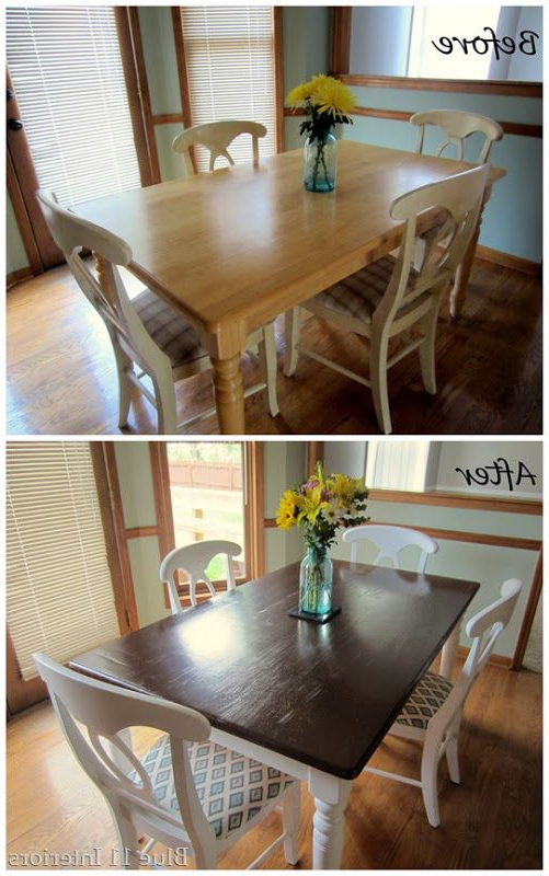 Newest Washed Old Oak & Waxed Black Legs Bar Tables Regarding Dining Table Makeover: Before And After Dark Top With Light White (Gallery 16 of 20)