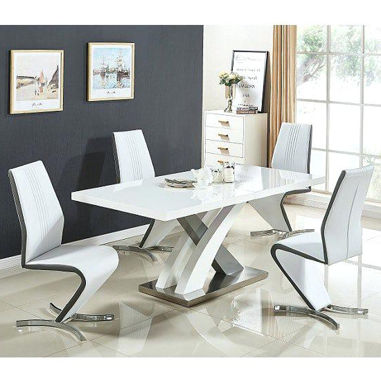 Newest White And Grey Dining Table Set Small Gloss Extendable Dining Table For Small Extendable Dining Table Sets (View 7 of 20)