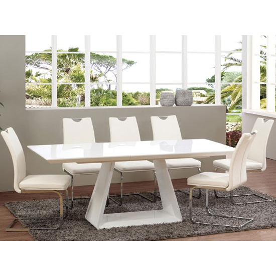 Newest White Extendable Dining Tables And Chairs With Regard To Astrik Extendable Dining Table In White High Gloss With  (View 7 of 20)