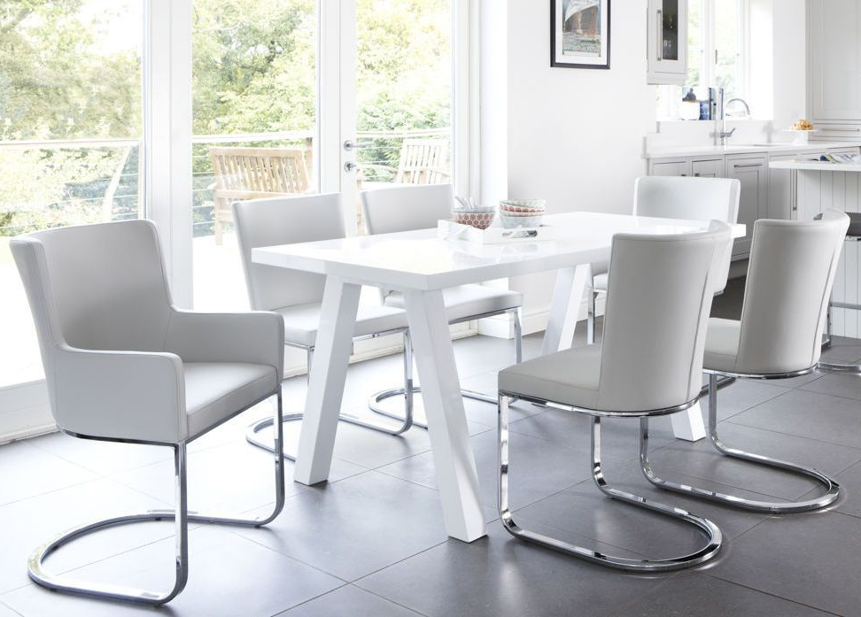 Newest Zen And Form 6 Seater White Gloss Dining Set (View 11 of 20)