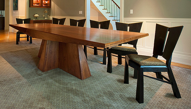 Nice Black Walnut Dining Table With Trapezoid Legs For Room Remodel With Regard To Best And Newest Walnut Dining Tables And Chairs (View 19 of 20)