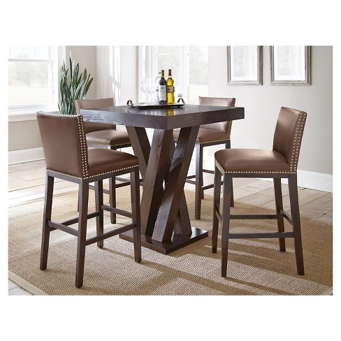 Noah Chocolate 4 Pc Bar Height Dining Room Sets Dark Wood Inside With Best And Newest Noah Dining Tables (View 10 of 20)