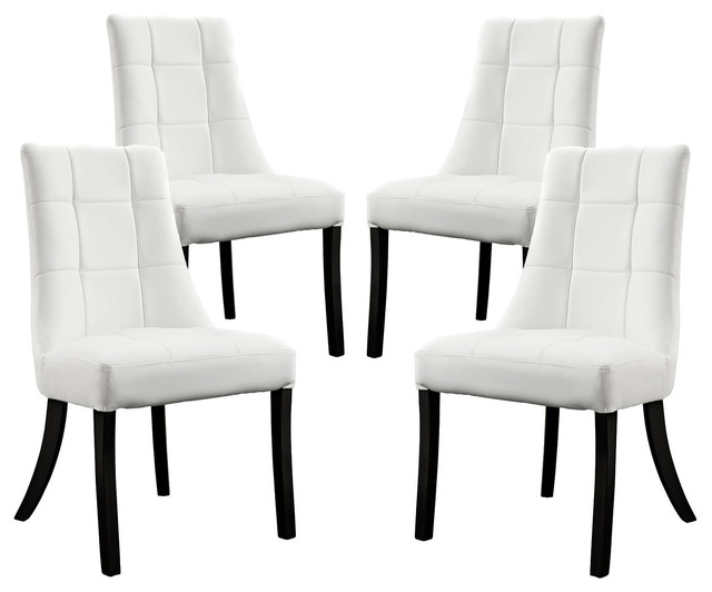 Noblesse Vinyl Dining Chair, Set Of 4 – Transitional – Dining Chairs For Well Known White Dining Chairs (View 9 of 20)