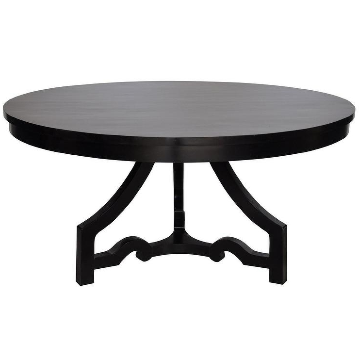 Noir 3 Leg Round Dining Table Distressed Black With Most Current Black Circular Dining Tables (View 11 of 20)