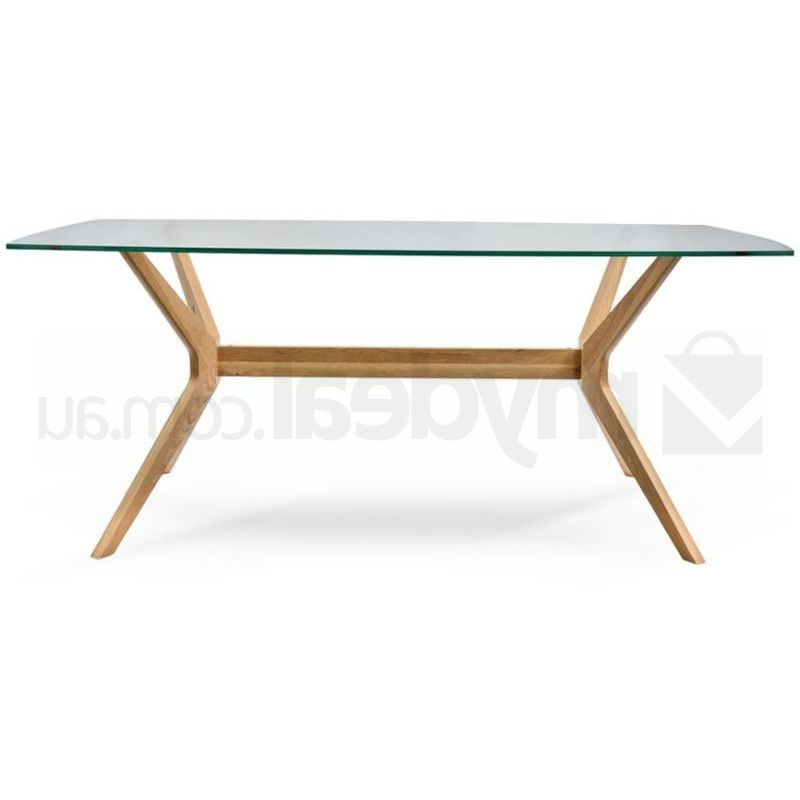 Nora Retro Oak Dining Table With Glass Top Natural (View 4 of 20)