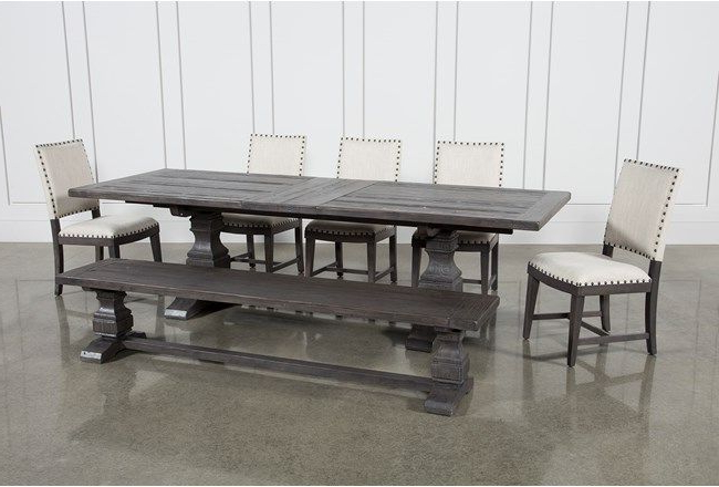 Norwood 7 Piece Rectangular Extension Dining Set With Bench & Uph Within Preferred Norwood Rectangle Extension Dining Tables (View 14 of 20)