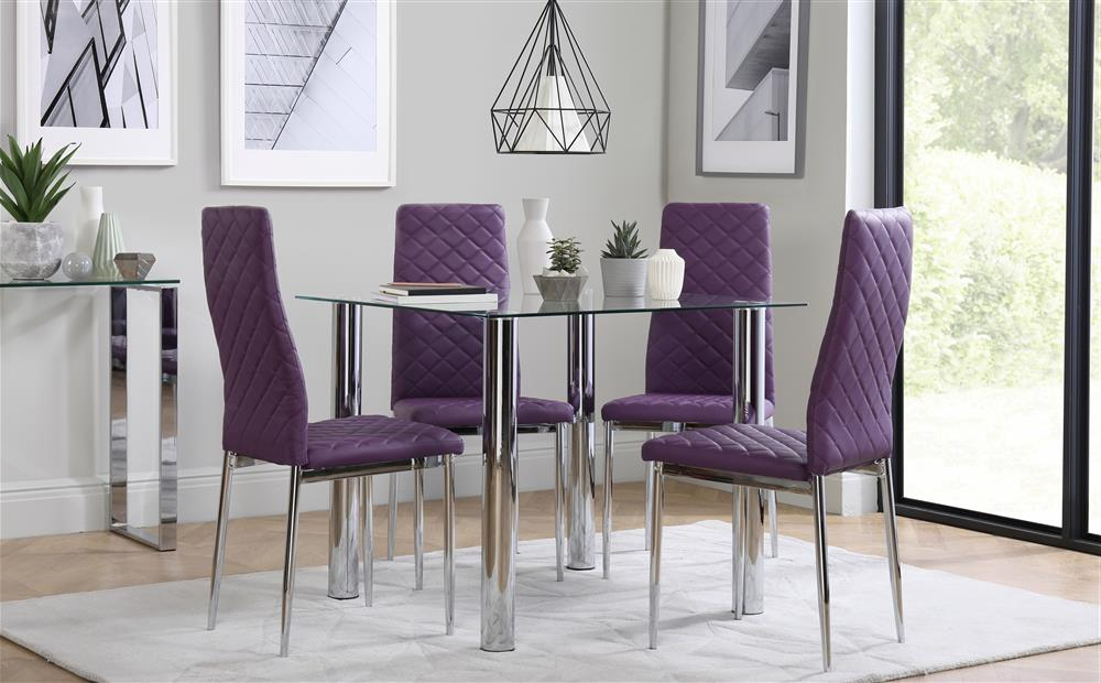 Nova Square Chrome And Glass Dining Table With 4 Renzo Purple Chairs For Trendy Dining Tables And Purple Chairs (View 14 of 20)