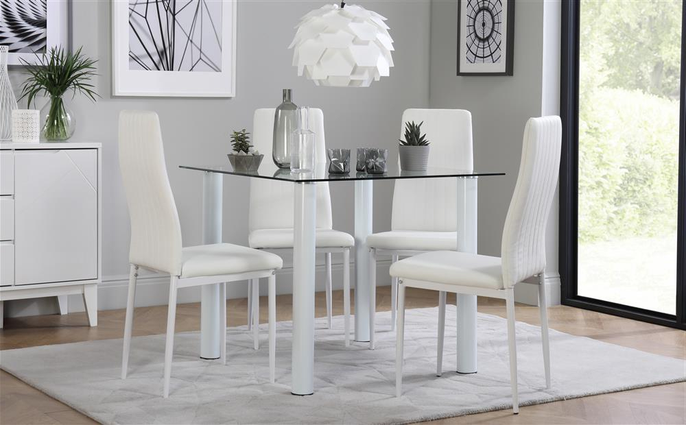 Nova Square White Glass Dining Table With 4 Leon White Chairs Only For 2018 Glass Dining Tables White Chairs (View 11 of 20)