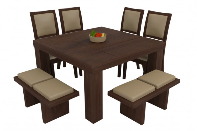 Novara Walnut Dining Table Set 8 Seater (Teak Wood) – Adona Adona Woods Regarding Latest Walnut Dining Table Sets (View 12 of 20)