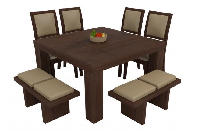 Novara Walnut Dining Table Set 8 Seater (teak Wood) – Adona Adona Woods Regarding Latest Walnut Dining Table Sets (View 19 of 20)
