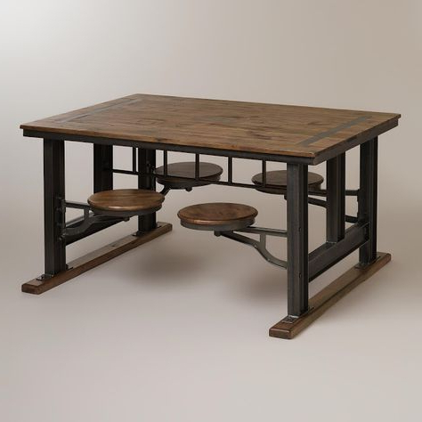 Nuevo V45 Reclaimed Wood Top Dining Table With Attached Stools Regarding Preferred Dining Tables With Attached Stools (Gallery 8 of 20)