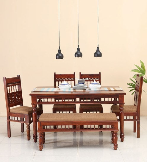 Oak 6 Seater Dining Tables Inside 2017 Buy Aramika Six Seater Dining Set With Bench In Honey Oak Finish (View 18 of 20)
