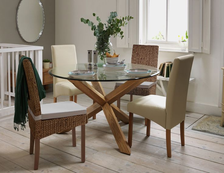 Oak And Glass Dining Tables And Chairs For Well Known Round Oak And Glass Dining Table The 69 Best Argos At Home Images On (Gallery 9 of 20)
