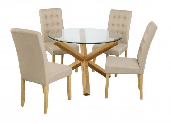 Oak And Glass Dining Tables Intended For Well Liked Solid Oak Glass Dining Table Set & 4 Padded Luxury Contemporary (View 14 of 20)