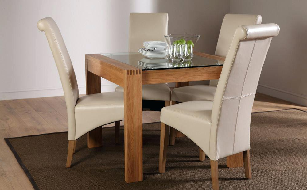 Oak And Glass Dining Tables Within Most Current Oak And Glass Dining Table Solid Oak Glass Top Dining Table Set With (View 17 of 20)