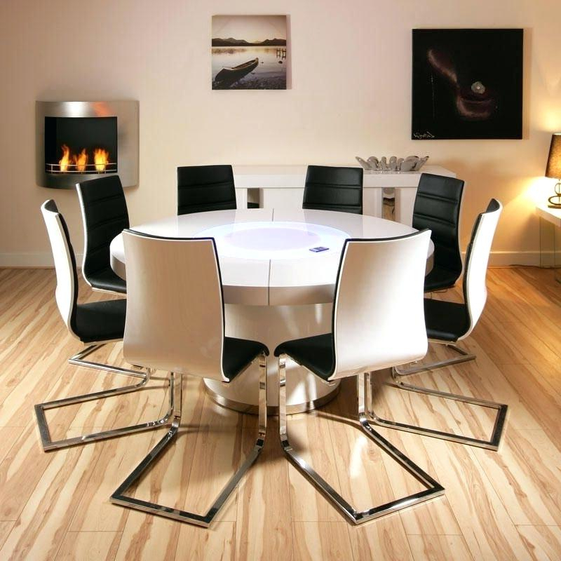 Oak Dining Sets For 8 8 White Dining Table And White Leather Dining Intended For 2018 Dining Tables With Led Lights (View 16 of 20)