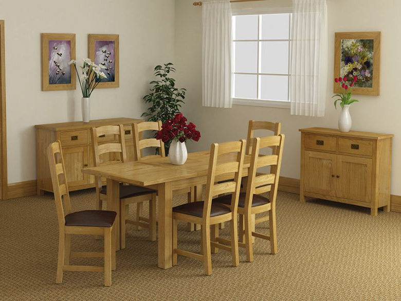 Oak Dining Suite Inside Current Salisbury Oak Compact Extending Dining Table – Furniture Barn (View 7 of 20)