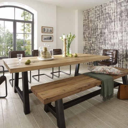 Oak Dining Suites With 2017 Distressed Wood Table & Bench. Metal Legs (View 12 of 20)
