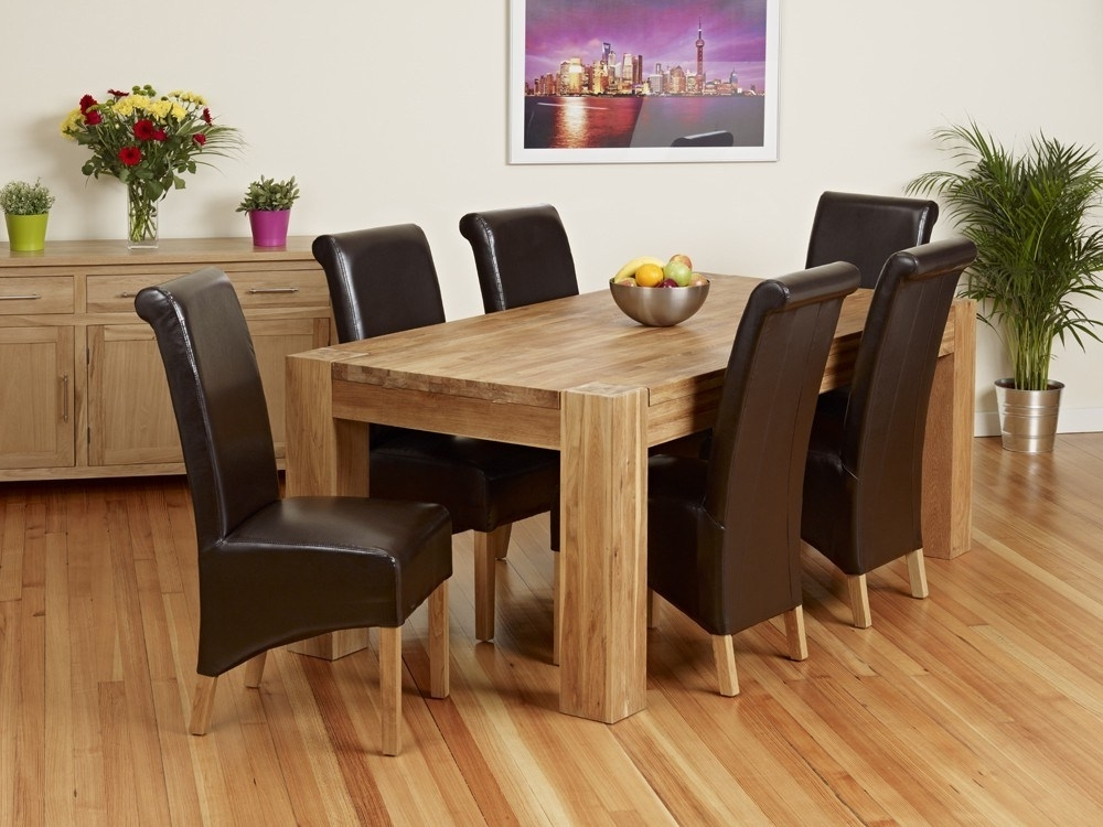 Oak Dining Table And Bench Set – Castrophotos Pertaining To Widely Used Chunky Solid Oak Dining Tables And 6 Chairs (View 13 of 20)