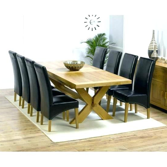 Oak Dining Tables 8 Chairs With Most Recently Released Dining Table 8 Chairs And Tables With Big Round Oak Rattan Cha (View 15 of 20)