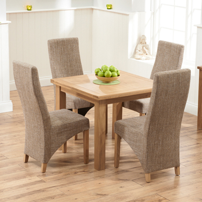 Oak Dining Tables And 4 Chairs In Most Up To Date Sandiego Oak 90Cm Extending Dining Table With 4 Henry Tweed Chairs (View 15 of 20)