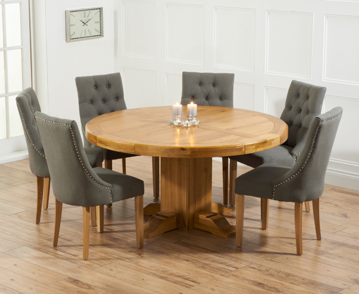Oak Dining Tables And Fabric Chairs Intended For Latest Torino 150Cm Solid Oak Round Pedestal Dining Table With Pacific (Gallery 9 of 20)