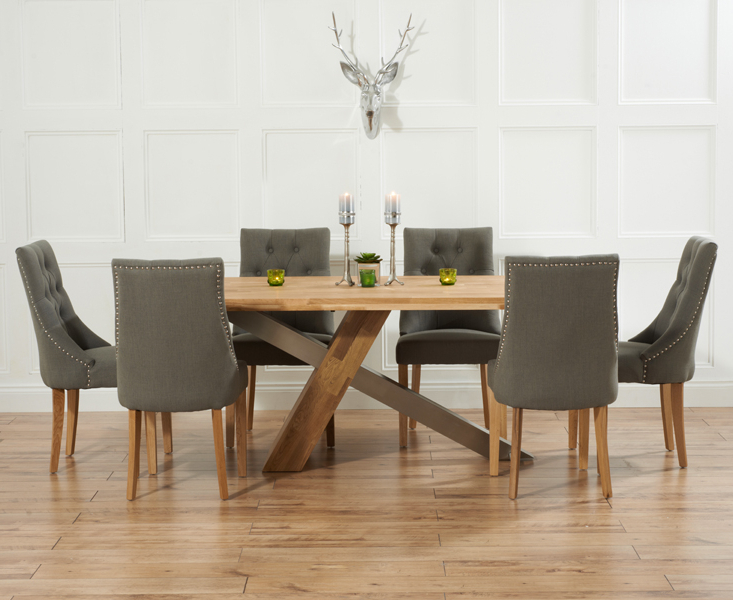 Oak Dining Tables And Fabric Chairs Throughout Famous Chateau 195cm Solid Oak And Metal Dining Table With Pacific Fabric (View 10 of 20)