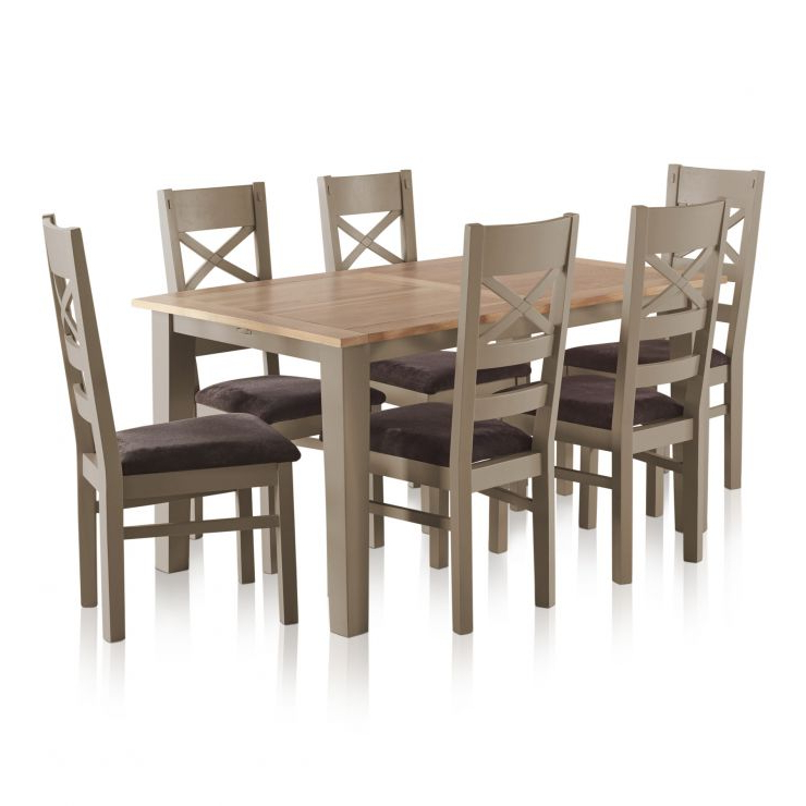 Oak Dining Tables And Fabric Chairs With Well Known St (View 13 of 20)
