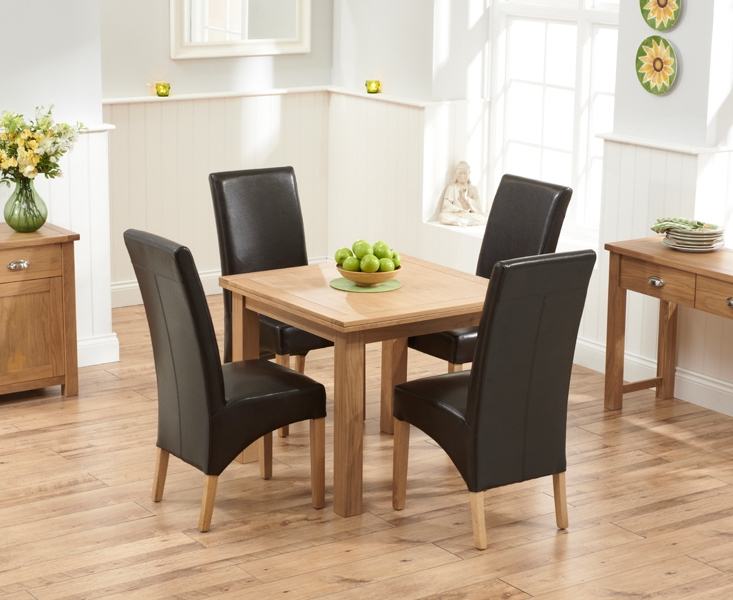 Oak Dining Tables And Leather Chairs For Recent Udine Solid Oak 90Cm Flip Top Extending Dining Set With 4 Tivoli (Gallery 10 of 20)