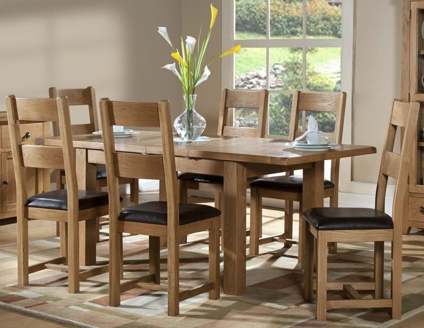 Oak Dining Tables With 6 Chairs In Well Liked Dining Chairs : Somerset Oak 1200 Extending Table + 6 Chairssomerset (View 13 of 20)