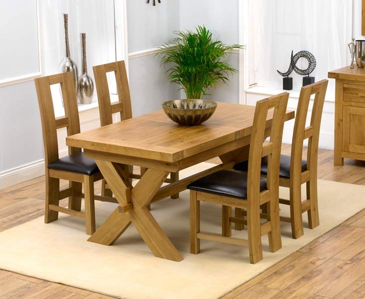 Oak Extending Dining Tables And 4 Chairs Inside Trendy Padova Solid Oak 160cm Extending Dining Set With 4 Rogo Brown Chairs (View 12 of 20)