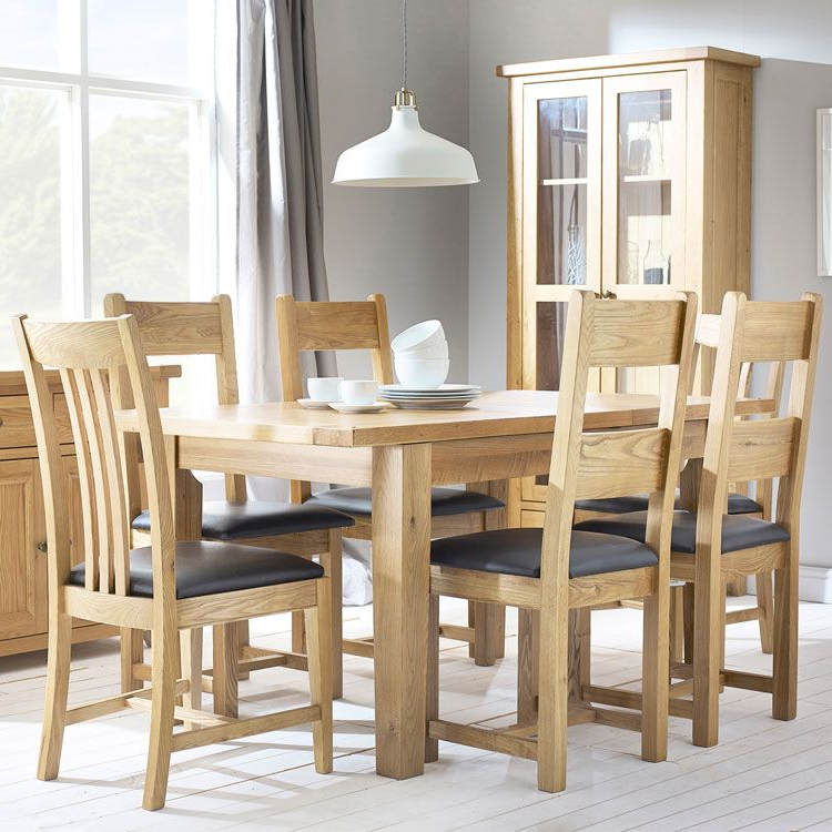 Oak Extending Dining Tables And 4 Chairs With Regard To Most Current Denver Oak Extending Dining Table & 4 Chairs (View 14 of 20)