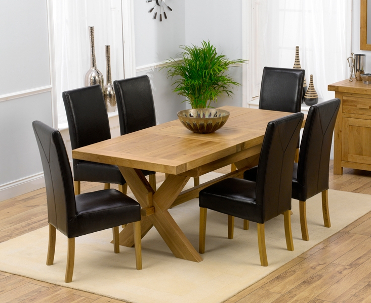 Oak Extending Dining Tables And 6 Chairs Throughout Famous Bellano Solid Oak Extending Dining Table Size 160 Blue Fabric Dining (View 2 of 20)