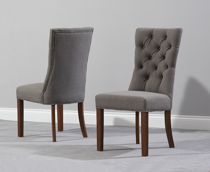 Oak Fabric Dining Chairs For 2018 Anais Grey Fabric Dark Oak Leg Dining Chairs (View 13 of 20)