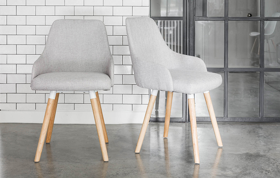 Oak Fabric Dining Chairs Within Well Known Oak Dining Chairs With Grey Fabric – Home Furniture – Out & Out Original (View 9 of 20)