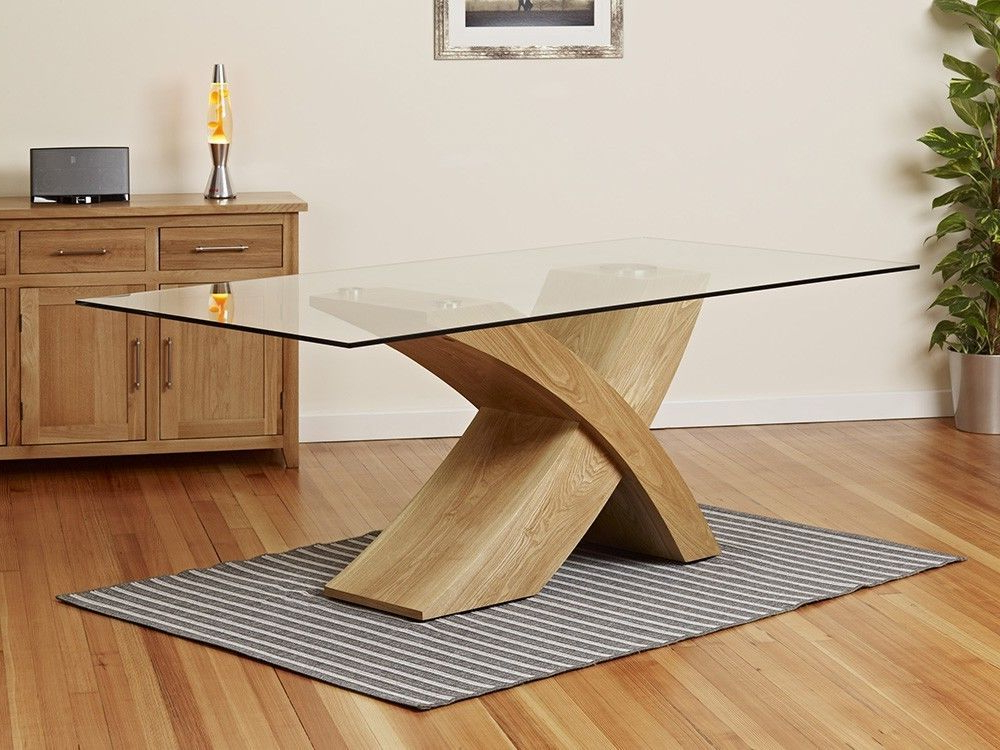 Oak Glass Dining Tables Regarding Best And Newest Milano X Wood Veneer Oak Glass Dining Table Set 6 Chairs Seater In (View 15 of 20)