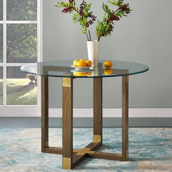 Oak Glass Top Dining Tables In Well Known Shop Avenue Greene Scarlett Rustic Oak Glass Top Dining Table – Free (View 9 of 20)