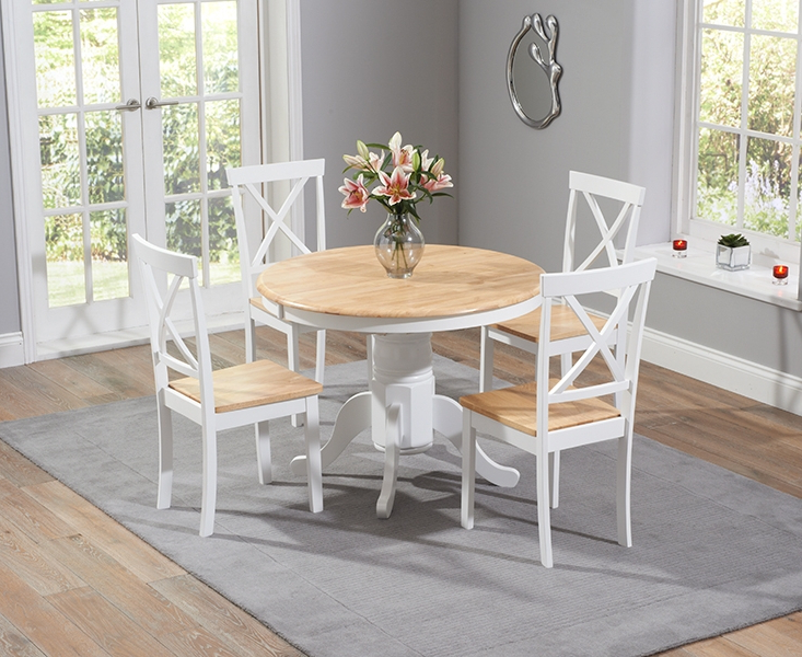 Oak Round Dining Tables And Chairs For Well Known Regis Oak And White 120Cm Round Dining Table With 4 Chairs (View 8 of 20)