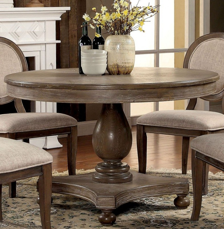 Oak Round Dining Tables And Chairs Regarding Most Recently Released Furniture Of America Siobhan Rustic Dark Oak Round Dining Table (Gallery 19 of 20)