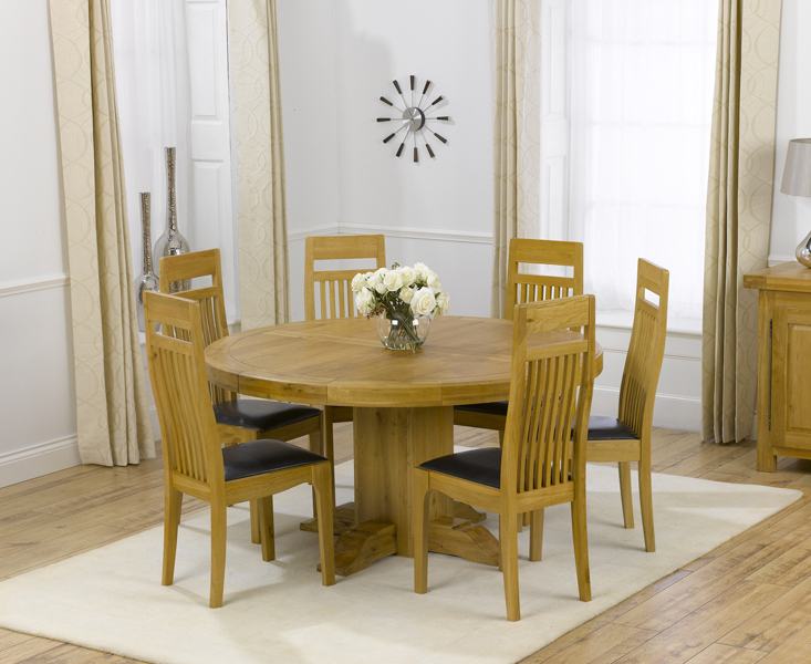 Oak Round Dining Tables And Chairs Throughout Most Up To Date Torino 150Cm Solid Oak Round Pedestal Dining Table With Monaco Chairs (View 13 of 20)