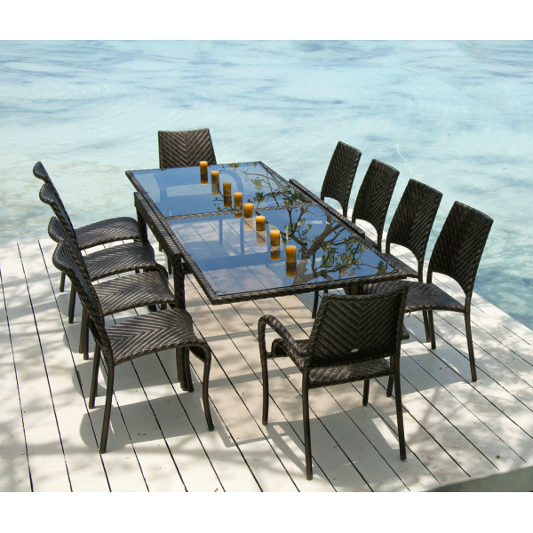 Ocean Rattan Fiji Extending Table & Stacking Chairs Outdoor Dining Set Inside Most Popular Extending Outdoor Dining Tables (View 14 of 20)