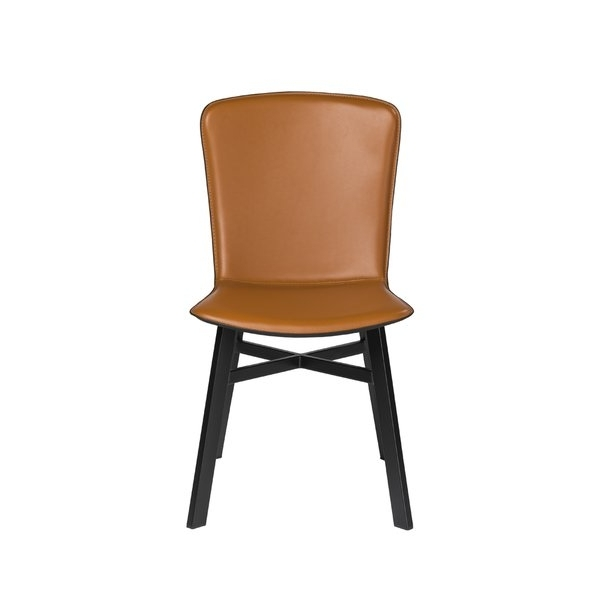 Octavia Cognac And Black Regenerated Leather Side Chair (Set Of 2 For Newest Hayden Cognac Side Chairs (View 15 of 20)