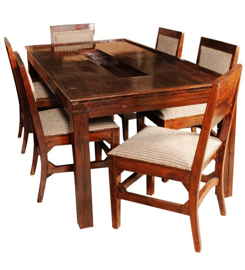Olida Sheesham Wood Dining Table With Six Upholstered Chairs With Regard To Favorite Wooden Dining Sets (View 9 of 20)